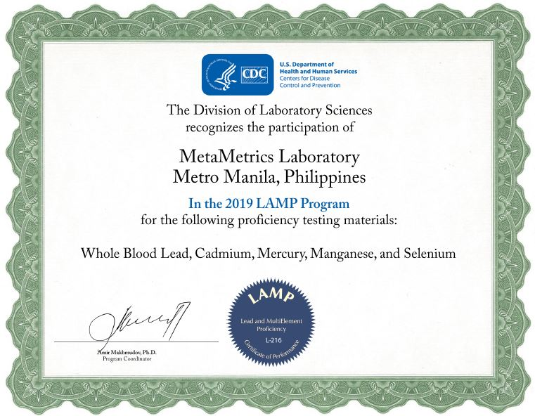MetaMetrics is proud to announce its successful completion of CDC's Lead and Multi-element Proficiency (LAMP) Program