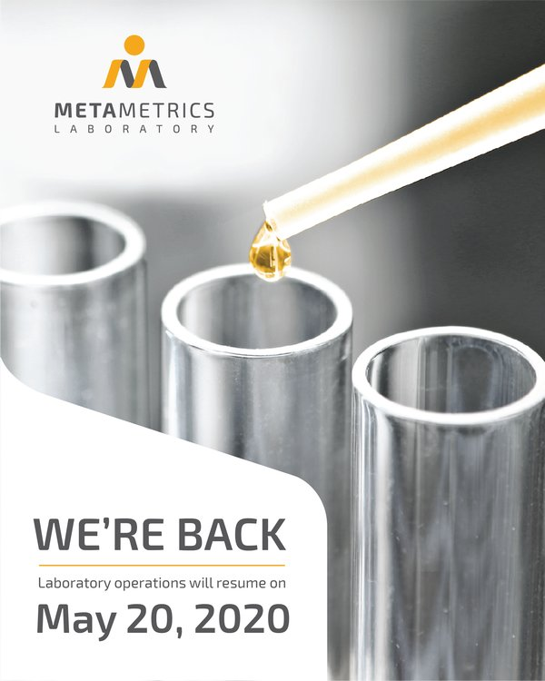 Metametrics Laboratory operations resume on May 20,2020