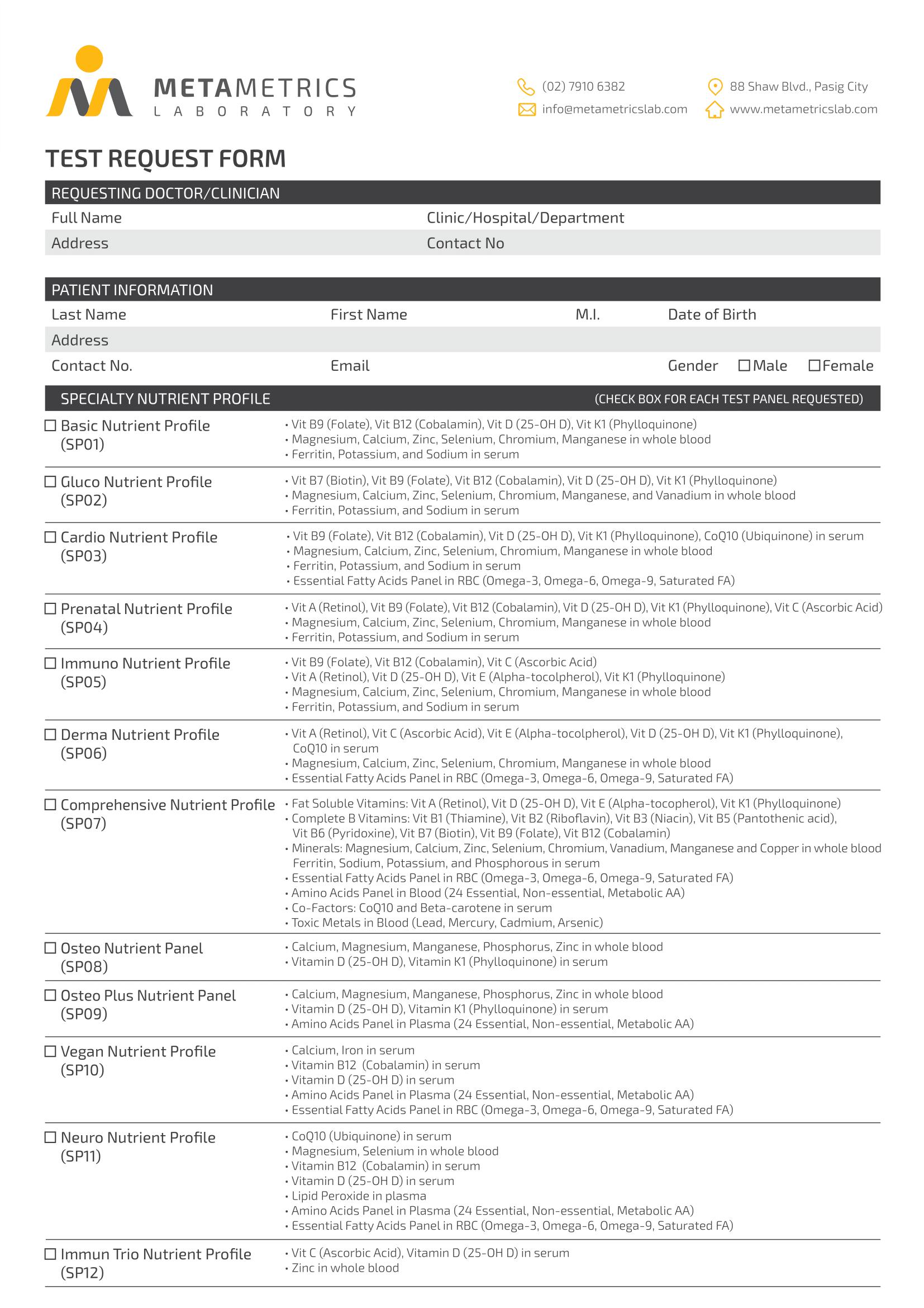 MetaMetrics Laboratory Diagnostic Test Request Form